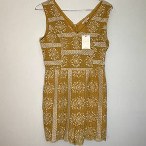 NWT Skies Are Blue Gold Embroidered Romper M